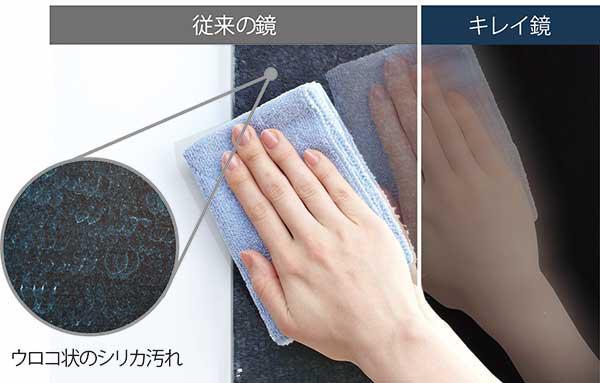 鏡は気になるウロコ状の白いシリカ汚れを防ぎ