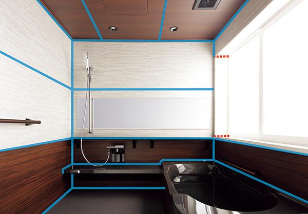 パッキンを浴室全体に採用した